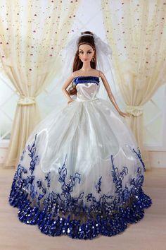 Handmade Barbie dolls marriage gauze skirt cocktail by Blueberry3, $11.99