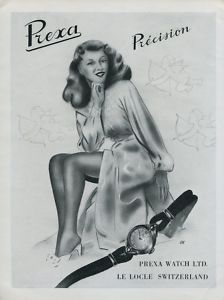 Prexa Watch Company Vintage 1946 Swiss Ad Le Locle Switzerland Suisse Horlogerie
