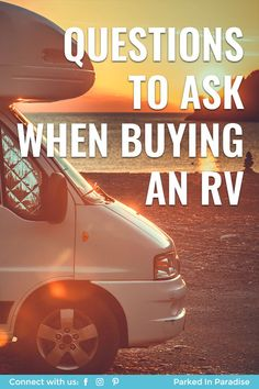 Beginner questions to ask when buying a new or used RV camper. Hacks to look for in a motorhome. Electrical system and water tank checks to make. What type of travel trailer is best for kids or family. Ideas for finding the best retirement motor home. DIY inspection tips and tricks. Used Campers, Rv Campers, Camper Hacks, Diy Camper, Build A Camper Van, Rv Travel, Adventure Travel, Diy Van Conversions
