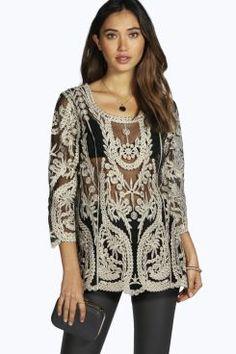 Boutique Rosa Metallic Crochet Long Sleeve Top at boohoo.com