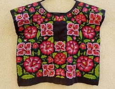 tehuana huipil mexican embroidery | Mexican Tehuana Blk Satin ChainStitch MultiFloral Huipil Vingage ...