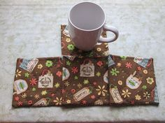 brown earth day set of mug rugs by KjsKwilting on Etsy