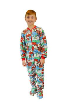 Boys   Girls Winter Fun Christmas Fleece Kids Onesie Footie Pajamas a6d17a094454