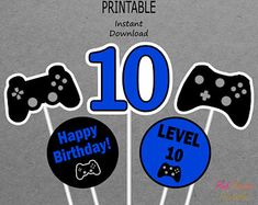 Etsy :: Your place to buy and sell all things handmade Boys 8th Birthday, Happy 5th Birthday, 19th Birthday, Birthday Games, Happy Birthday Banners, Birthday Cupcakes, Off Game, Printable Banner, Party Signs