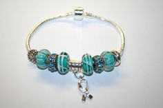 Teal Beaded Cervical Cancer Charm Bracelet by TheSisters3Boutique, $19.99
