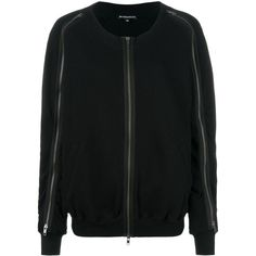 Ann Demeulemeester zip sweatshirt (166.240 HUF) via Polyvore featuring tops, hoodies, sweatshirts, black, zip sweatshirt, zipper sweatshirt, zip top, cotton sweatshirts and zipper top