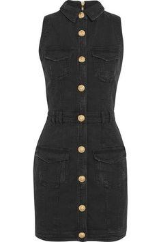 Balmain | Distressed denim mini dress | NET-A-PORTER.COM