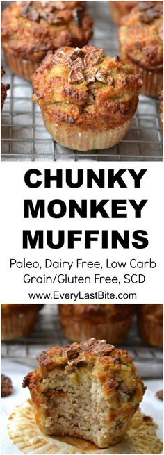 Delicious muffins packed with bananas, coconut, walnuts and chocolate chunks. Grain/Gluten Free, Dairy Free, Paleo, SCD Legal, Refined Sugar Free.
