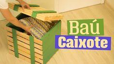 Quer organizar coisinhas aí na sala, no quarto, no corredor? Bóra fazer esse baú com carinha de caixote :) Post no blog com as medidas: http://www.diycore.co...