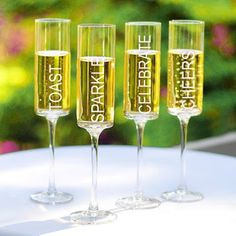 Wedding Favors & Party Supplies - Favors and Flowers :: Wedding Favors :: Personalized Wedding Favors :: Personalized Champagne, Wine, Shot Glasses More :: Cheers! Contemporary Champagne Flutes - Set of 4 Champagne Party, Champagne Glasses, Shot Glasses, Cheers, Toasting Flutes, Home And Deco, Hand Blown Glass, Wedding Favors, Wedding Ideas