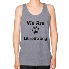 We are LibreStrong Unisex Fine Jersey Tank (on man)