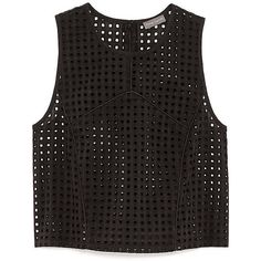 Vince Camuto Cropped Square Eyelet Blouse ($40) ❤ liked on Polyvore featuring tops, crop tops, shirts, tank tops, rich black cotton, crop top, boxy crop top, spaghetti strap crop top, cotton tank and geometric shirt