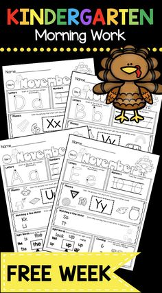 FREE MORNING WORK - Kindergarten and First Grade worksheets - freebie printable week - math and reading Thanksgiving Activities For Kindergarten, Kindergarten Homework, Kindergarten Morning Work, Kindergarten Freebies, Kindergarten First Day, Kindergarten Lesson Plans, Kindergarten Activities, Educational Activities, Free Worksheets For Kindergarten