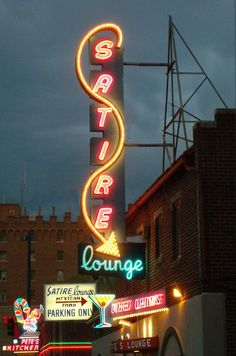 Pete's Satire Lounge on Colfax Avenue in Denver, Colorado. Cool Neon Signs, Vintage Neon Signs, Neon Light Signs, Drive In, Robert Doisneau, Ansel Adams, Neon Licht, Neon Moon, Old Signs