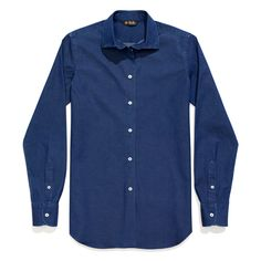 $700 The women's version of the classic men's shirt, styled with all the distinctive features: collar with stiffeners, lily-stitched buttons and hand-applied mouche. Crafted from cotton denim with a hint of stretch, its soft cut flatters all figure types.