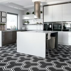 SomerTile x Labirinto Hex Porcelain Floor and Wall Tile, Black sqft. Kitchen Shower, Hexagon Tiles, Hex Tile, Stone Tiles, How To Distress Wood, Porcelain Tile, Wall Tiles, Home Improvement, Indoor