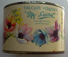 Vintage tin of talcum powder - so pretty www.millyanddottie.com