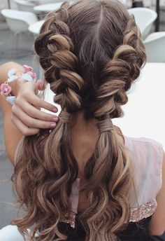 Long Hair Braids: Braided Hairstyles for Long Hair: Wavy Double Dutch Braids . , Long Hair Braids: Braided Hairstyles for Long Hair: Wavy Double Dutch Braids Source by , Beauty Easy Summer Hairstyles, Pretty Hairstyles, Hairstyle Ideas, Hairstyles 2016, Wedding Hairstyles, Teenage Hairstyles, 1930s Hairstyles, Bun Hairstyles, Belle Hairstyle