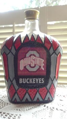 Ohio State Buckeyes bottle Crown Royal Hand Painted glass Liquor bottle OOAK