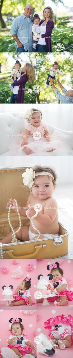 Baby girl first birthday Minnie Mouse cake smash by Heidi Hope Photography