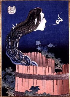 """Okiku's Ghost Emerging from the Well by Hokusai. This legend tells the story of a maid who, after breaking a of precious plate, was thrown down a well by her master. The most popular version of this tale was established in 1795, when Japan suffered an infestation of a type of worm found in old wells that became known as the """"Okiku bug"""" (Okiku mushi). This worm, covered with thin threads making it look as though it had been bound, was widely believed to be a reincarnation of Okiku."""