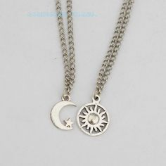 Bff Necklace Set,stars Sun and Moon Bff Necklace, 2 Sun and Moon Best Friends Necklaces BFF Bff Necklaces, Best Friend Necklaces, Couple Necklaces, Best Friend Jewelry, Best Friend Goals, Best Friends Forever, Mode Style, Necklace Set, Sister Necklace