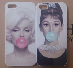 Movie Star Marilyn Monroe Audrey Hepburn Beauty Pink Tiffany Blue Bubble Gum girly iPhone 4 4s 5 5s 5c case cover.