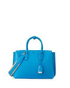 Milla Medium Leather Tote Bag, Tile Blue - MCM