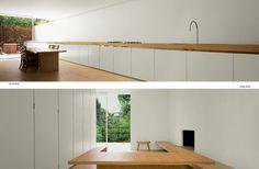 #kitchen #white #timber