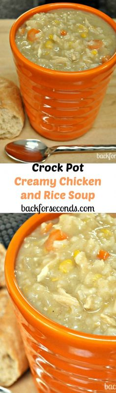 Easy Crock Pot Creamy Chicken and Rice Soup. I added more celery and carrots and cooked it in a dutch oven instead of a crock pot. Also cooked the rice before and added at the end. Total time was about 45 minutes. Crock Pot Recipes, Crock Pot Food, Crock Pot Slow Cooker, Slow Cooker Recipes, Soup Recipes, Cooking Recipes, Crock Pots, Recipies, Recipes Dinner