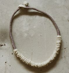 Textile necklace minimal cream /handmade /unique by aBimBeri
