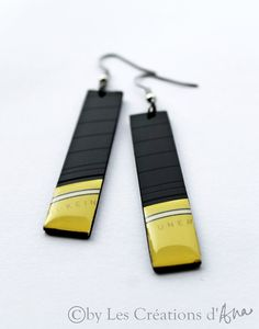 NEW vinyl record earrings. long earrings. geometric earrings. black and yellow earrings. one of a kind modern jewelry.. $19.00, via Etsy.