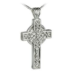 Heavy Silver Celtic Cross Necklace with Trinity Knot