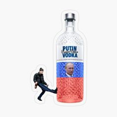 'Putin Vodka Cheeki Breeki ' Sticker by xtraedge Plastic Stickers, Personalized Water Bottles, Transparent Stickers, Sticker Design, Vodka Bottle, Finding Yourself, Art Prints, Artist, Flasks