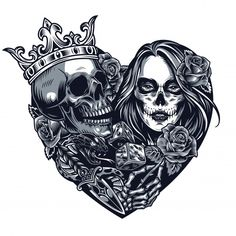 Chicano style tattoo template in heart shape with skull in crown dice dagger snake skeleton hand holding rose girl with Day of Dead makeup in vintage style isolated illustration , Lettrage Chicano, Chicano Style Tattoo, Chicano Drawings, Chicano Tattoos, Tattoo Drawings, Art Drawings, Skull Rose Tattoos, Skull Girl Tattoo, Body Art Tattoos
