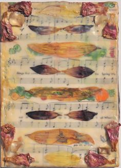 """Lyrics & Melody"" Encaustic wax, pressed  flowers and paper. 5"" x 7"" 2013"