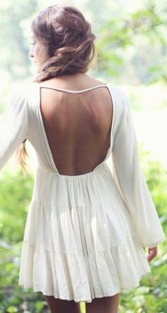 #summer #seaside #outfits | White Backless Dress
