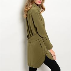 Long olive back detail beautiful tunic! Arriving soon! Tops Tunics