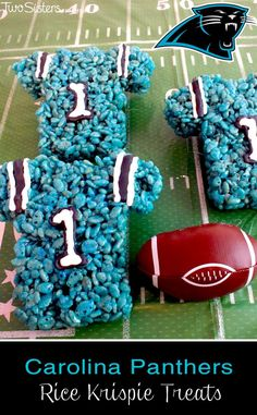 These Carolina Panthers Rice Krispie Treats Team Jerseys are a fun dessert for a game day football party, an NFL playoff party, a Super Bowl party food or as a special snack for the  Carolina Panthers fans in your life.  For more fun Rice Krispie Treats ideas follow us at http://www.pinterest.com/2SistersCraft/ sports party food