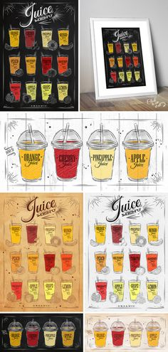 Set Juice Posters by Anna on @creativemarket