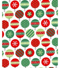 Holiday Showcase? Christmas Cotton Fabric 43'' - Packed Ornaments on White