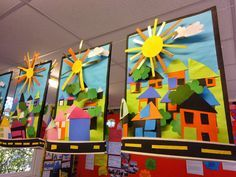 Neighborhood collage. Love the sculptural element in this art project. Good way to use fore, middle, and background, too!