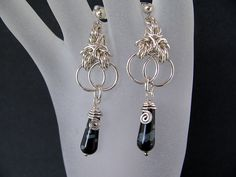 Sterling Silver Earrings, Snowflake Obsidian, Chainmaille, via Etsy.