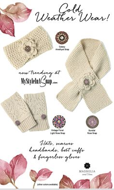 Magnolia and Vine Fall/Winter 2016 Collection is here! Check out our cold weather wear knits - headbands, scarves, fingerless gloves, hats, boot cuffs. BUY 4 SNAPS, GET 1 FREE! Click to see what the buzz about snap jewelry is all about! Want it all? Click http://www.mystyleinasnap.com/join-us.html to see how you can get this at wholesale prices.