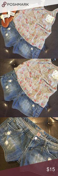 🌺DISTRESSED JEAN SHORTS🌺 🌺LIKE NEW!! Super cute distressed Jean shorts. Has some stretch to them. 🌺 Almost Famous Shorts Jean Shorts