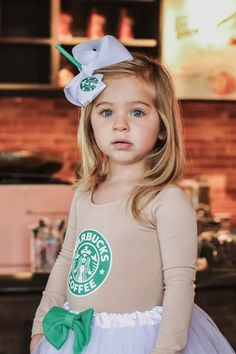 16 Insanely Adorable Starbucks Halloween Costumes For Kids of All Ages 19 Insanely Adorable Starbuck Starbucks Halloween Costume, Group Costumes, Halloween Costumes For Girls, Halloween Fun, Unique Costumes, Mom And Baby Costumes, Spice Girls Costumes, Girl Costumes, Costume Ideas