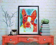 Boston terrier wall art poster Print colorful by OjsDogPaintings #dogs #art #bostonterrier