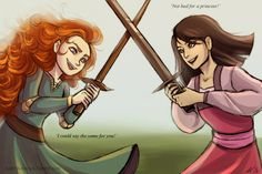 Merida and Mulan by AndytheLemon on @DeviantArt. Even though they have almost exact opposite personalities. Mulan tried to save her father from suffering while Merida selfishly endangered her entire family.