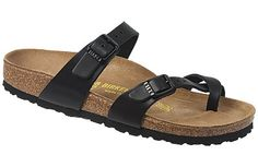 Birkenstock Mayari  Hunter Black Leather  $120     This pretty, airy sandal has slender straps and soft toe wrap that is really comfortable. Both straps are adjustable for a custom fit. Classic Birkenstock cork footbed provides superior arch support, a deep heel cup for stability and will eventually form to your own feet. Long-wearing EVA soles are lightweight and flexible and provided a cushioned walk. Resoleable.