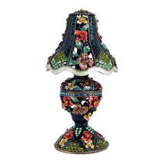 Green Victorian Lamp Trinket Box Bejeweled